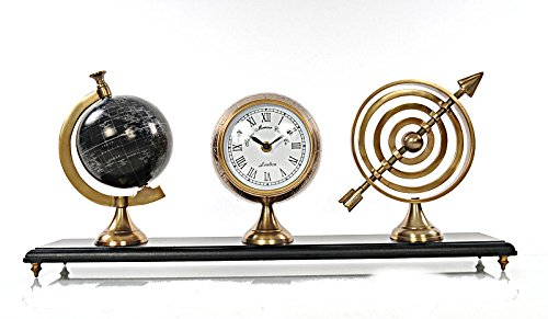 Alum Armillery Clock & Paper Globe on MDF Base by OM001