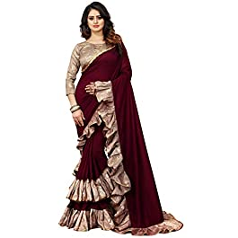 Vastrang Sarees Women's Banarasi Silk Blend Saree With Blouse Piece