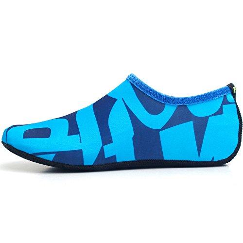 WOWFOOT Barfuß Wasserhaut Schuhe Socken Frauen Männer Flexible Schwimmen Schuh Strand Aqua Surf Pool Yoga Übung Blau (Muster)