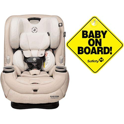 Maxi-Cosi Pria Max 3-in-1 Convertible Car Seat – Nomad Sand with Baby on Board Sign