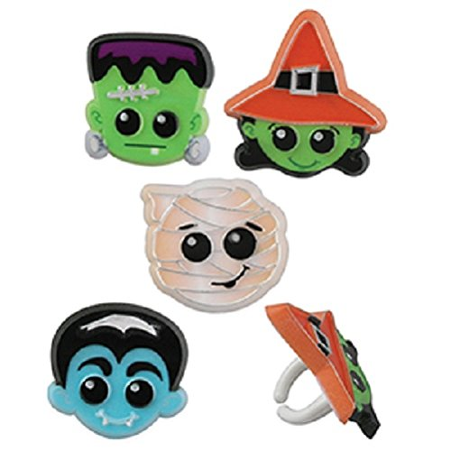 Oasis Supply BC H-14012 Cupcake/Cake Decorating Halloween Character Rings, 1 1/2-Inch, 12-Pack