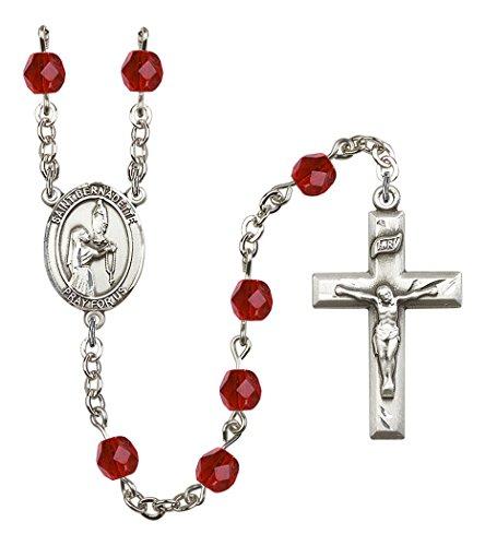 July Birth Month Prayer Bead Rosary with Saint Bernadette Centerpiece, 19 Inch