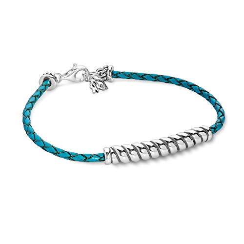 - 925 Silver Turquoise Braided Leather Rope Bar Bracelet - Medium