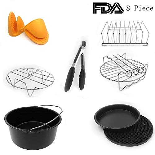 Universal Air Fryer Accessories 7 Inch Pizza Pan Cake Barrel Skewer Rack Silicone Mat Kitchen Tong Metal Holder Toast Rack Pinch Mitts Fit All 3.7QT/5.3QT/5.8QT By EBIGIC