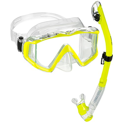 Snorkel Package Scuba Equipment - Phantom Aquatics Ultra Panoramic View Scuba Snorkeling Mask Dry Snorkel Set (Yellow)