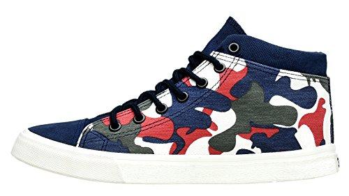 LOUECHY Mens 768-MC Classic Canvas Shoes Mid Fashion Sneaker Lace-Up Blue 7eg2sAY4U