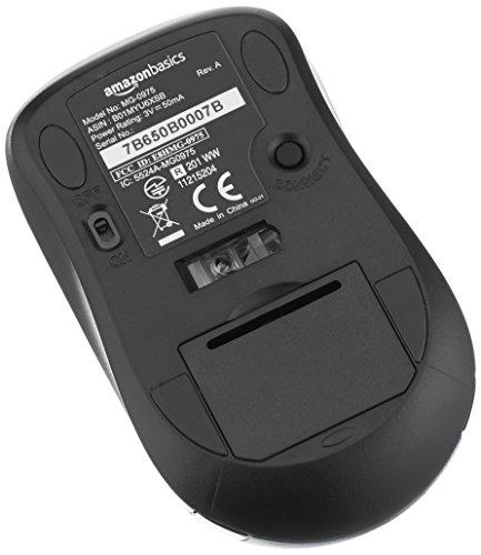 AmazonBasics Wireless Computer Mouse with USB Nano Receiver - Silver