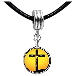 Chicforest Silver Plated Jesus On The Cross Photo White Crystal(April Birthstone) Flower dangle Charm Beads Bracelets European Bracelets Compatible