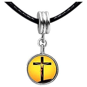 Chicforest Silver Plated Jesus On The Cross Photo Black Crystal Flower dangle Charm Beads Fits Pandora Bracelets