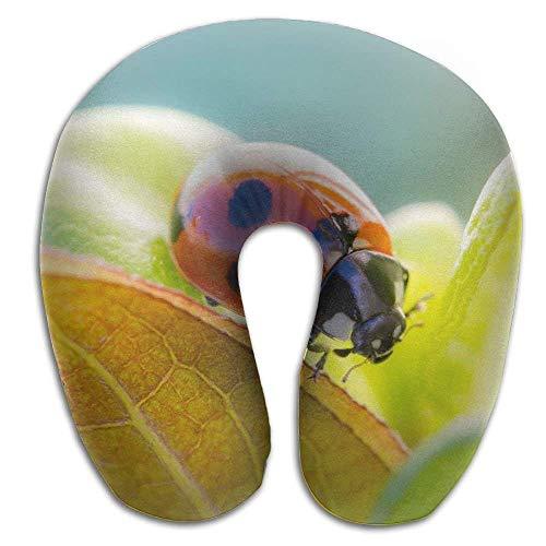 Ciuaole Neck Pillow Ladybug Figure Travel U-Shaped Pillow Soft Memory Neck Support for Train Airplane Sleeping