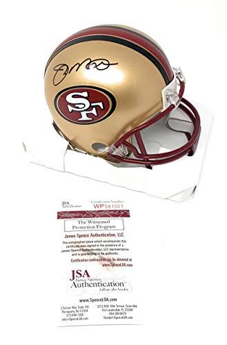 (Joe Montana San Francisco 49ers Signed Autograph Throwback Mini Helmet JSA Witnessed)