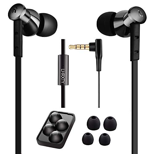 Earbuds,LHRXTY Noise Isolating Earphones with Microphone Wired Audio in-Ear Headsets Soft Comfortable Earbuds Headphones Compatible with iPhone 8/8Plus/7Plus/Laptop/PC/Android,Black