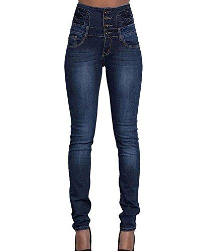 Ladies EX ETAM Blue Tye Dye da Donna Jeggings Skinny vita alta Jean