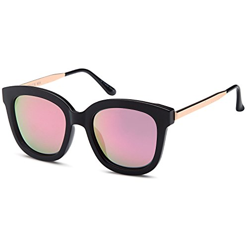 CATWALK UV400 Womens Oversized Round Cat Eye Polarized Sunglasses with Metal Fashion Frame and Flash Lens Option – Mirror Pink Lens on Black - Sunglasses Flash Lenses
