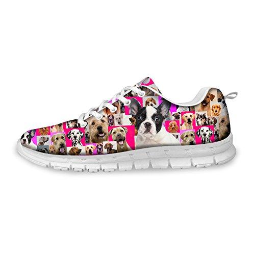 Abbracci Idea Cani Stampa Carino Donna Leggero Sneakers Confortevole Boston Terrier