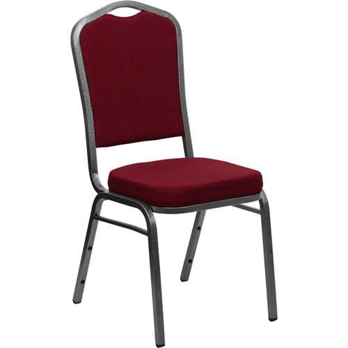 Flash Furniture FD-C01-SILVERVEIN-3169-GG Hercules Series Crown Back Stacking Banquet Chair with Burgundy Fabric Silver Vein Frame (Series Stacking Chair Burgundy Fabric)