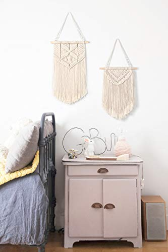 Mkono 2 Pcs Macrame Wall Hanging Art Woven Wall Decor Boho Chic Home Decoration for Apartment Bedroom Living Room… - This cute macrame wall hanging is created to fit in any space and budget. Beautiful wall art creates a sense of harmony and comfort for your room. It is great for a bedroom, dorm room, living area, baby nursery, workspace or anywhere where you'd like to bring some texture and interest to your walls. Mkono Macrame Wall Hanging is made of 100% Pure cotton cord, without artificial ingredients or chemicals. Sturdy, durable and premium quality. This cute and chunky macrame can make a big difference in any space. Its symmetrical design will fit in any interior. This woolen hanging makes a perfect statement piece for hanging over the head of a bed or baby crib, over a couch, fireplace mantel or desk, or near a window for adding a cozy touch to your living or work space. Great decoration for party, wedding, or as photo props. - living-room-decor, living-room, home-decor - 414vuOn4UiL -