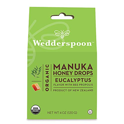 Wedderspoon Organic Manuka Honey Drops, Eucalyptus + Bee Propolis, 4.0 Oz, Unpasteurized, Genuine New Zealand Honey, Perfect Remedy For Dry Throats ()