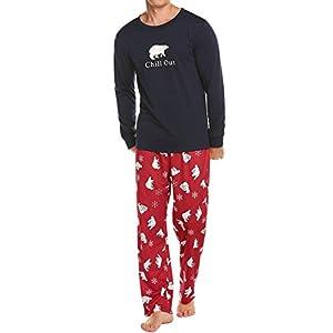 Ekouaer Christmas Pajamas Mens Holiday Sleepwear Long Sleeve Sleep Top with Long Pants Soft Pjs Set S-XXL