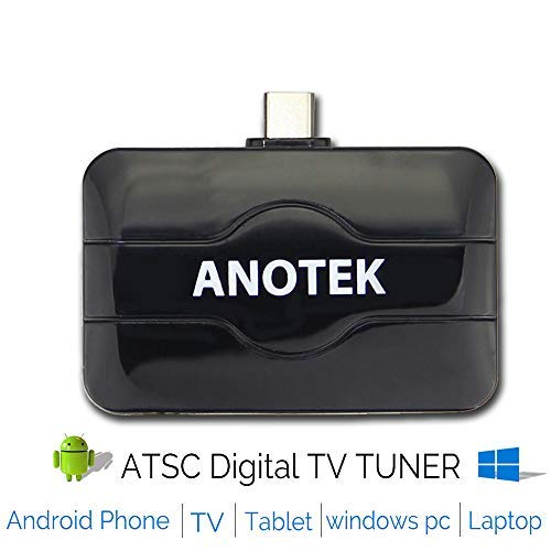 Digital USB TV Tuner Receiver External TV Stick, 6 in1 for Android Phone Tablet Smart TV TV Box Car and PC Laptop (Win 7/8/10) ATSC 4K&HD for USA/Mexico/Canada (External Antenna For Laptop)