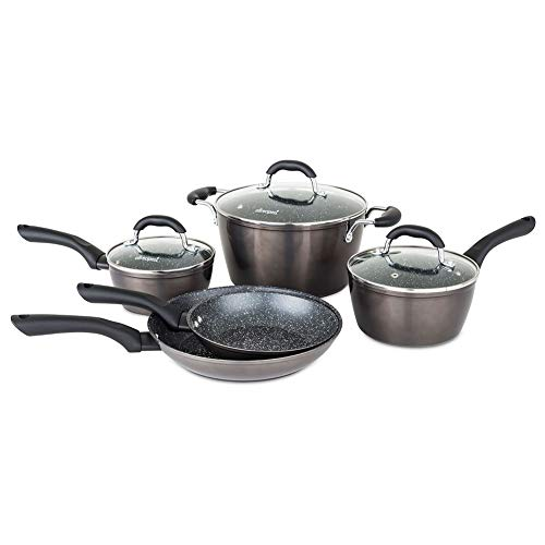 Allrecipes 50221-9988-432 Sizzle Sensor Nonstick Cookware Set, 8 Piece, Graphite]()
