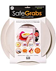 Safe Grabs: Multi-Purpose Silicone Original Microwave Mat as Seen on Shark Tank | Splatter Guard, Trivet, Hot Pad, Pot Holder, Minimize Mess (BPA-Free, Heat Resistant, Dishwasher Safe), Set of 2 Gray