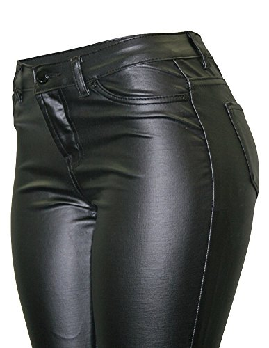Cielo Women's Super Trendy Faux Skinny Pants Black (Skinny Leather Pants)