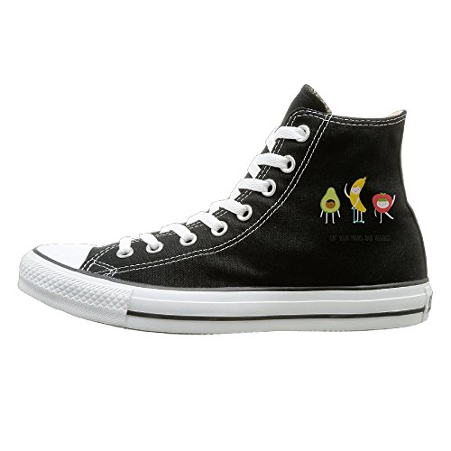 Shenigon Eat Your Fruit And Veggies Canvas Shoes High Top Design Black Sneakers Unisex Style 35