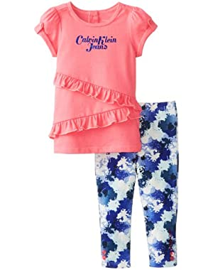 Baby Girls' Top with Printed Leggings