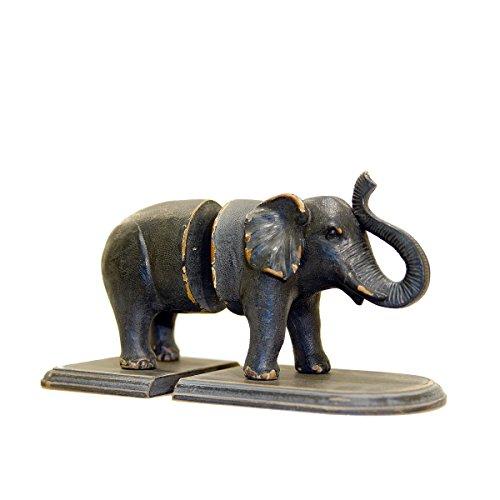 Dark Gray Elephant Shaped Bookends - Jungle Animal Figure Statues Shelf Decor from VIP Home & Garden