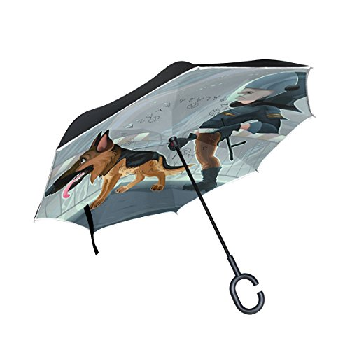 Blue Viper Policeman Walking The Dog Inverted Umbrellas Reverse Folding Waterproof UV Protection Straight Umbrella Double Layer Self-Standing and C-Shape Handle for Car and Travel Outdoor (Reverse Walking)
