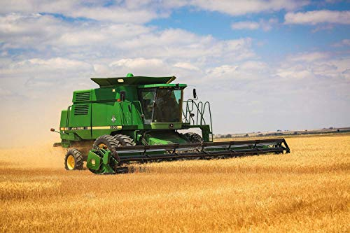 Farming Photography Wall Art Print - Picture of John Deere Combine Cutting Wheat During Harvest in Eastern Colorado Farm Decor 5x7 to 30x45