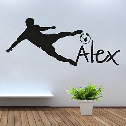 PPL88 (Leave a Message of Custom Information) Personalized Name Vinyl Wall Decal Sticker for Nursery Football Soccer Ball Custom Name Wall Sticker for Kids Bedroom 1 PCs]()