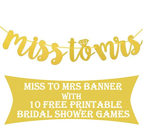 Miss to Mrs Banner with Games : Gold Glitter Bridal Shower Party Decorations and Supply