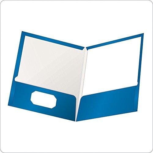 Oxford Showfolio Laminated Twin Pocket Folders, Letter Size, Blue, 25 per Box (51701) by Oxford