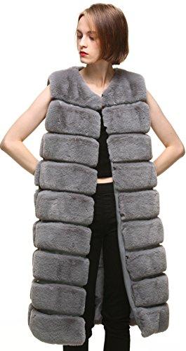Sans Blousons Foncé Manteau Manche Hiver Vogueearth Gris Faux Fausse Fourrure Fur L'automne Longue Classic Femme' Warm Veste WqwCTBR