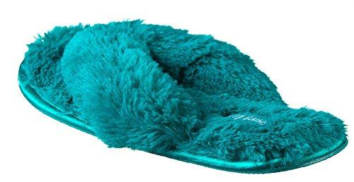 Beverly Rocke Womans Nye Plysj Satin Spa Thong Tøffel I 4 Flotte Farger Grønn