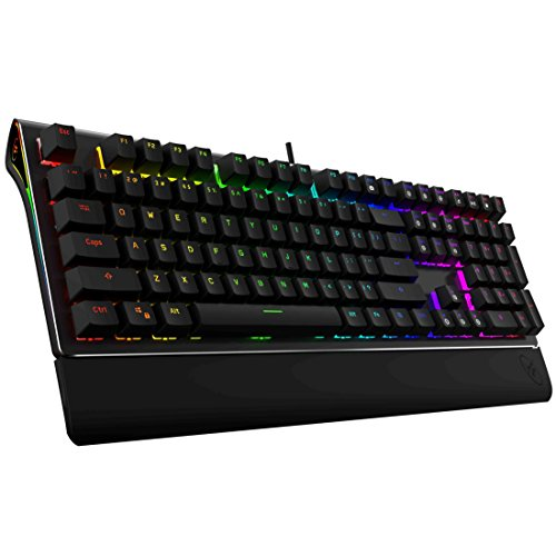 ROSEWILL Mechanical Gaming Keyboard, RGB Backlit Clicky Computer Mechanical Keyboard for PC, Laptop, Mac, Rainbow LED Modes with Side Backlight & Software Suite for Customization - Brown Switch