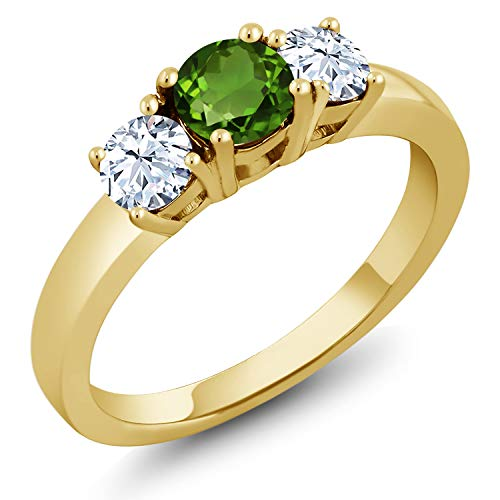 Gem Stone King 0.50 Ct Round Green Chrome Diopside 18K Yellow Gold Plated Silver Ring (Size ()