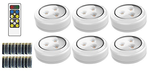 Battery Lighting (Brilliant Evolution BRRC135 Wireless LED Puck Light 6 Pack With Remote Control - Operates On 3 AA Batteries - Kitchen Under Cabinet Lighting)