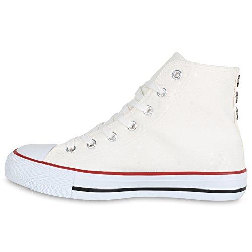 Weiss Nieten Übergrößen Damen Unisex Herren Stiefelparadies Flandell Sneaker high X8H40Acqw