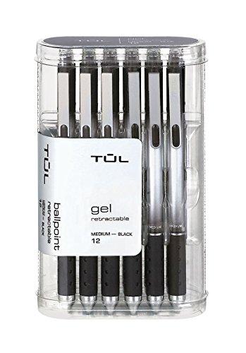 TUL Retractable Gel Pens 0.7 mm Medium Point, Black 12/pk