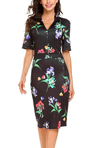 Dethler Women Vintage Style V-Neck Short Sleeve Floral Bodycon Party Pencil Dress (Fashionable Spring)