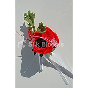 Red Anemone & Pink Roses Wedding Buttonhole with White Ribbon 84