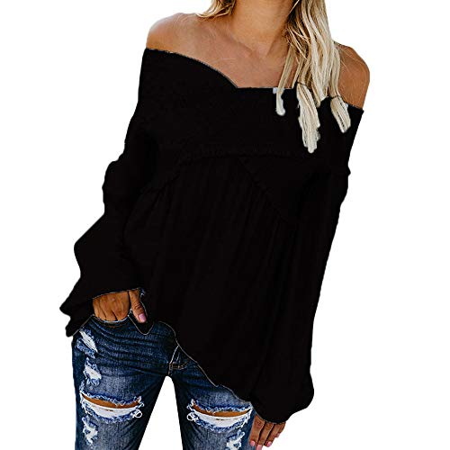(HOSOME Women Sexy Blouse Slash Neck Loose Ruched Tops Black)