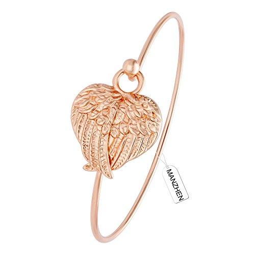 MANZHEN Supernatural Protection Angel Wings Easy Open Hook Love Bangle Girl Women Bracelet