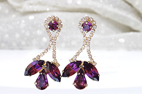 (PURPLE CRYSTAL EARRINGS, Girlfriend Gift, Amethyst Earrings, Purple Rhinestone Earrings, Genuine Swarovski, Dangle Earrings, Bridal Earrings)