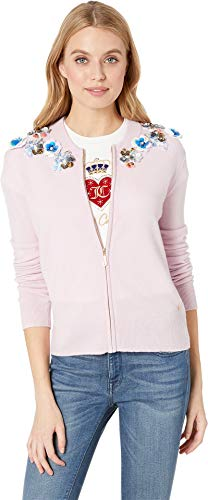 (Juicy Couture Women's Embellished Cashmere Cardigan Dusty Pink)