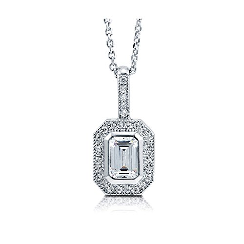 (BERRICLE Rhodium Plated Sterling Silver Emerald Cut Cubic Zirconia CZ Halo Pendant Necklace)
