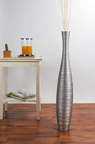 Tall Floor Vase 36 inches, Wood, Silver (36 Vases Tall Inch Floor)